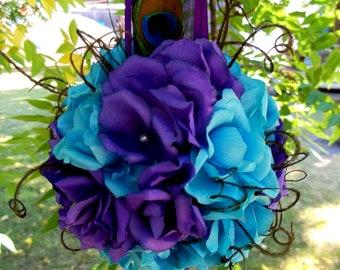 Bouquet, Wedding Kissing Ball,  Pomander, Wedding Decor, Peacock Bouquet, Peacock Wedding, Bridal Kissing Ball, Bridesmaids, Flower Girls