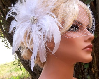 Wedding White Bridal Hair Fascinator, Bandeau French Net Bridal Veil,  Feather Fascinator Wedding Hair Clip, Bridal Veil, Wedding Veil