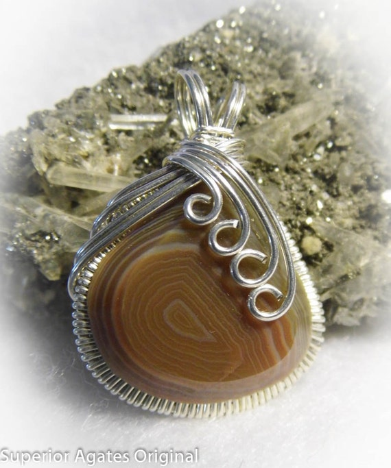 Opaque Banded Lake Superior Agate Wire Wrapped Stone Pendant