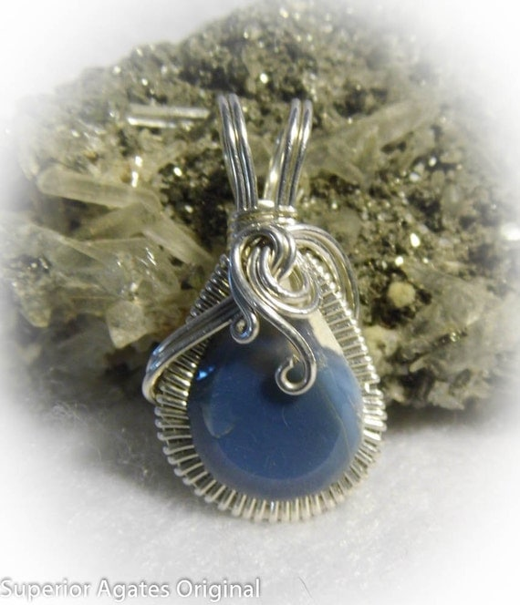 Owyhee Blue Opal Wire Wrapped Stone Pendant
