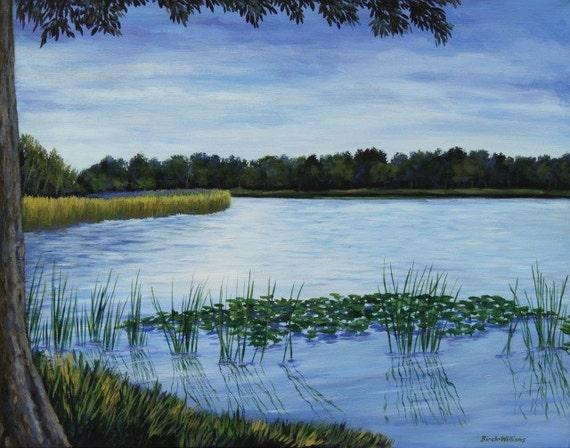 Lake Landscape Art Print Giclee Florida Art 8x10