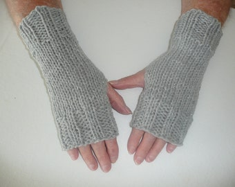 Hand Knit Fingerless Mittens/Texting Gloves - Grey Glitter Wrist Warmers- One Size Fits All