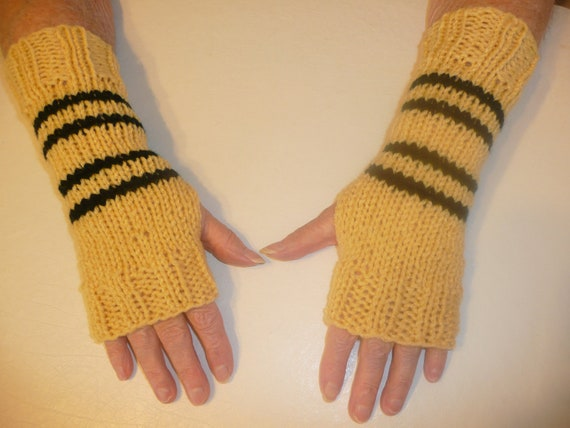 Harry Potter Hand Knit Fingerless Mittens/Texting Gloves - Double Stripe Hufflepuff Wrist Warmers- One Size Fits All