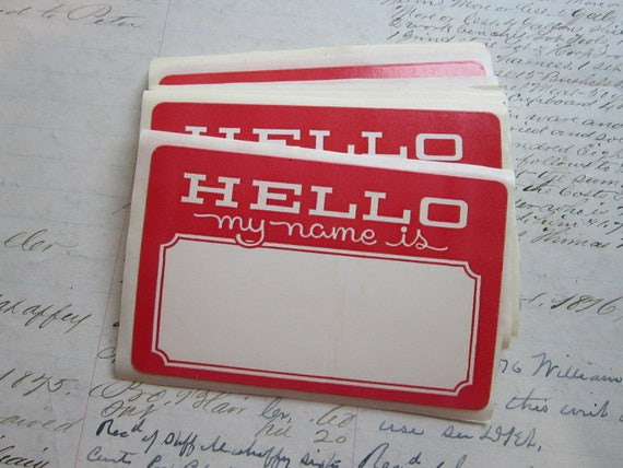 30 vintage labels - HELLO MY NAME iS - adhesive