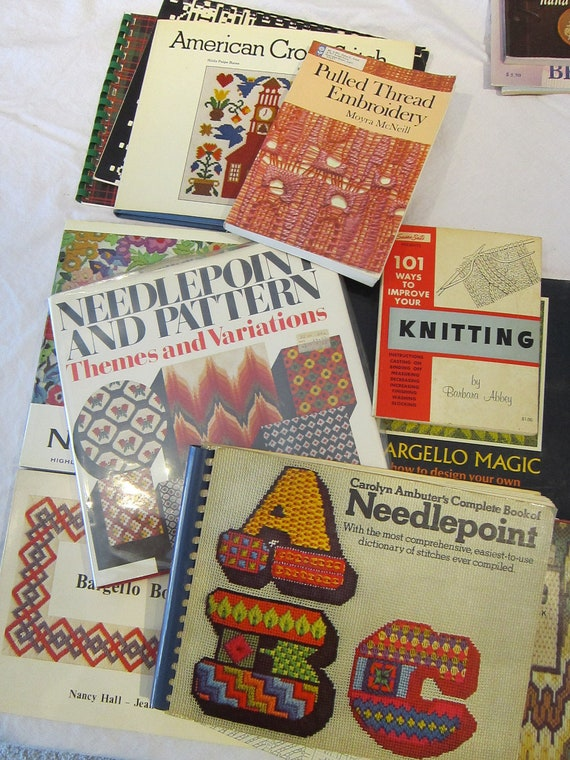 15 vintage needlework bargello and knitting books by theartfloozy