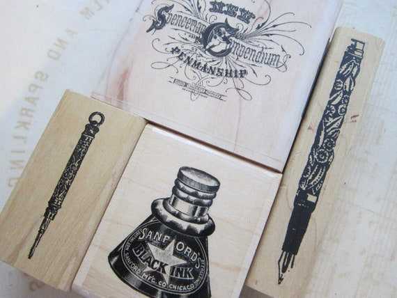 3 rubber stamps - antique PENS and INKWELL - used