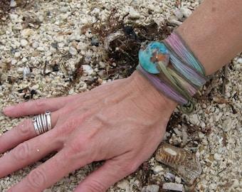 Beach Jewelry, silk wrap bracelet, Koi Pond Serenity Bracelet, worry stone, yoga bracelet, nature jewelry, fused glass by Designs by Leslie