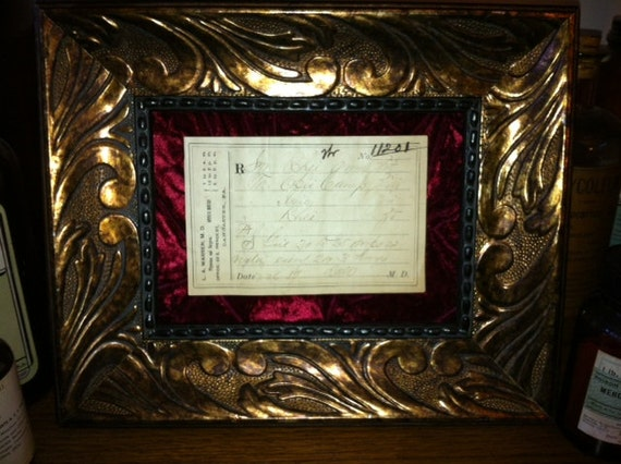 Rare OPIUM Hand Written Prescription Curio Frame, Antique Medical Collectible, Antique Apothecary Curio Frame