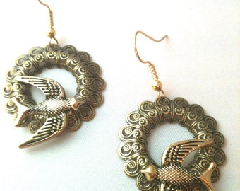 Victorian Filigree and Sparrow Earrings