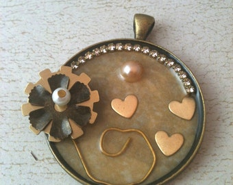Steampunk Flower with Brass Hearts Necklace