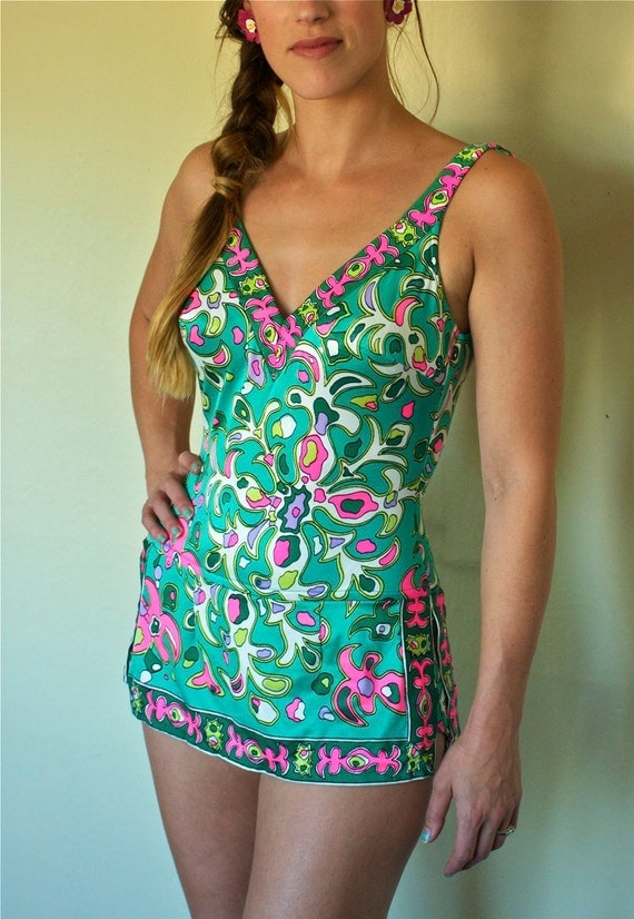 SALE 1960s Bright Neon Abstract Pin Up One Piece