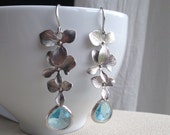 Silver Orchid Trio Dangle with Aquamarine Teardrops  - gift, bridesmaid, mother, sister, daughter, wife, bridal, birthday, romantic