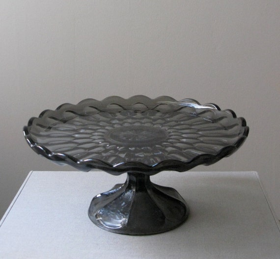 Vintage Glass Cake Stand, Anchor Hocking, Fairfield
