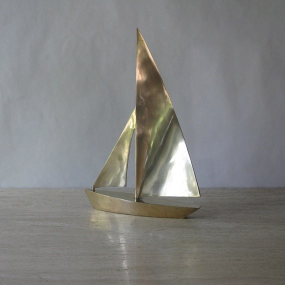 Vintage Large Brass Sailboat