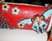 Mary Frances Leather Beaded Butterfly Bag