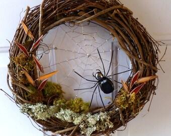 12 Inch Grape Vine Spider Web Wreath Front Door Wreath House Warming Gift Unique Custom Spider Web Wreath Anniversary Gift Nature Wire Art