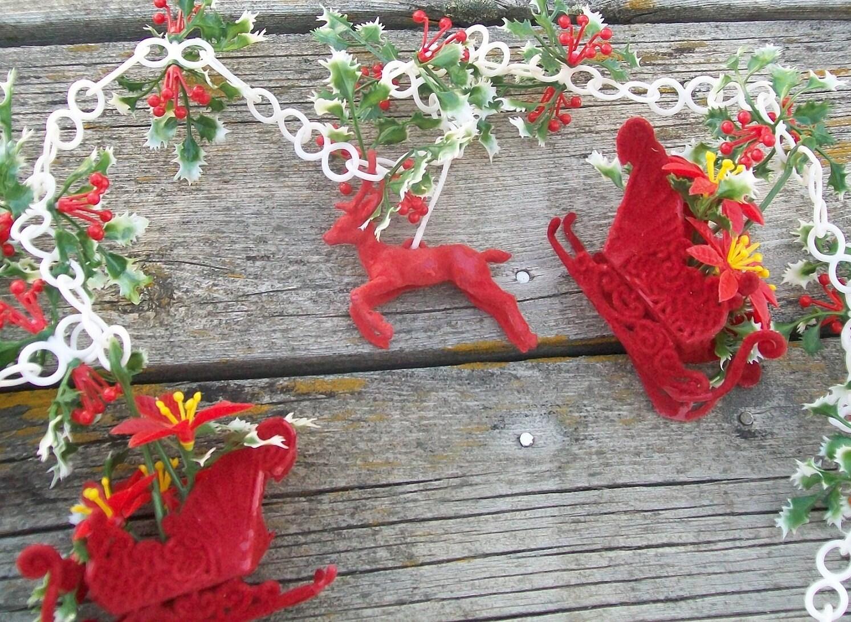 Vintage christmas garland sleigh reindeer poinsettias red