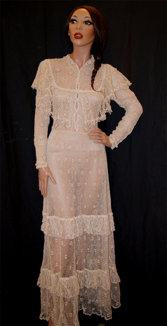 RESERVED Vintage Sheer Crochet Lace Bohemian Maxi Dress xs/s Deadstock Vintage