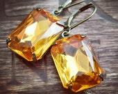 Honey Topaz Rhinestone Earrings in Oxidized Brass - Marigold or Citrine - November Birthstone