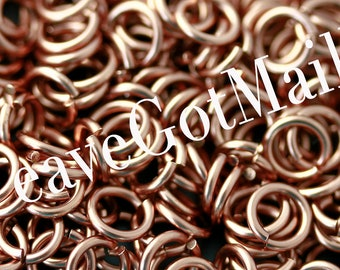 Jumprings 16 gauge 7mm Antique Copper Colored Enameled Copper Jumprings, 1 oz, approximately 89 jump rings