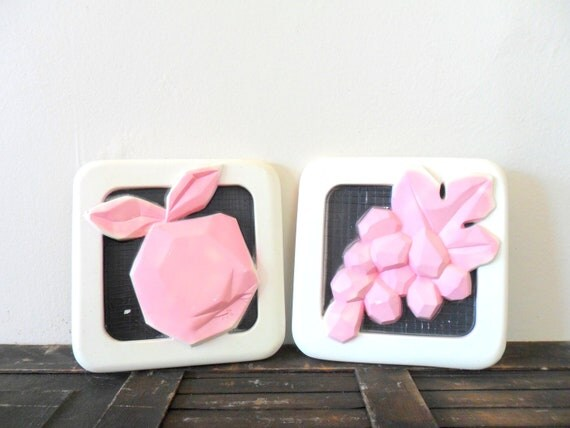 vintage 50s miller studios chalkware wall hangings - fruit - pink - abstract - spring