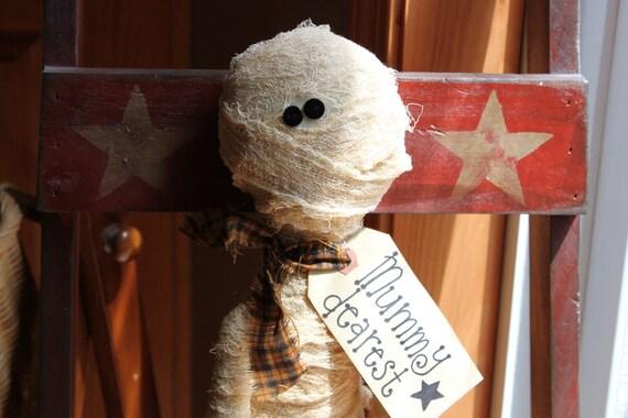 Primitive Folk Art Raggedy Annie Mummy Fall Halloween