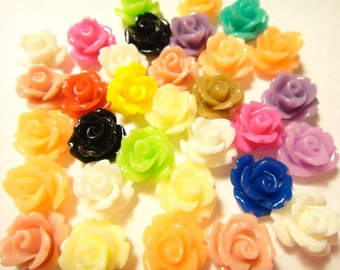 100pcs Resin Rose Flower Cabochon mixed colors 10mm (no hole)