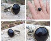 SALE - Protection - Black Onyx Cabochon Adjustable Ring, boho, hippie jewelry