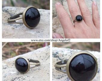 Black Onyx Cabochon Adjustable Ring, boho, hippie jewelry, protection stone, gemstone ring