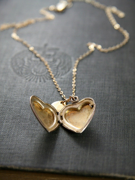 1940's Vintage Gold Locket Necklace, Floral Engraved Heart Pendant - Custom Initial Charm