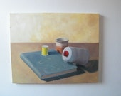 Vintage Still Life Painting of Book and Sewing Thread Chartreuse Blue Buff Oatmeal Red 20x16
