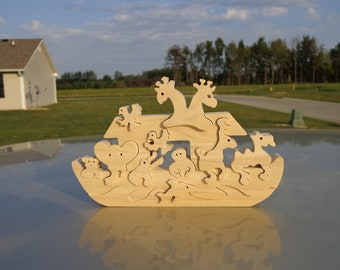 Wooden Noah's Arc Puzzle Poplar Hardwood