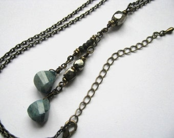 Lariat Necklace with Oregon Blue Opal and Pyrite