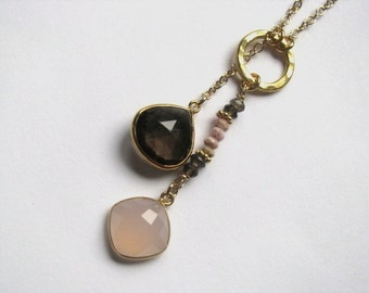 Lariat Necklace with Gold Vermeil Bezel Smokey Quartz and Pink Chalcedony