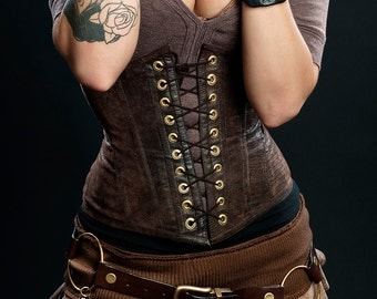 Meschantes Steampunk Vegan Leather Waist Cincher Corset - Your Size