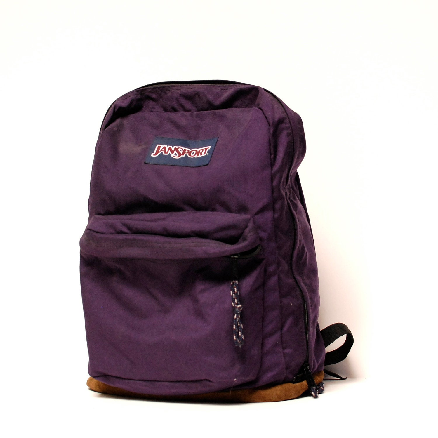 LEATHER JANSPORT purple canvas BACKPACK
