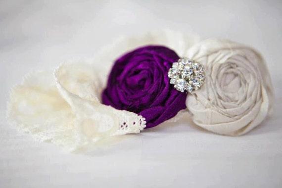 Purple Wedding Garter SET- Vintage Romance Bridal Garter Set (Design 2)