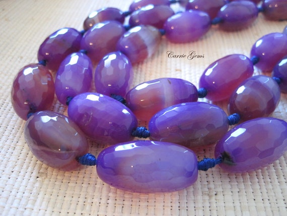 "16"" long (12 pcs) Purple Agate Barrel 18mmx28mm Beads"