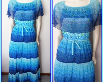 Vtg.70s Cobalt Blue Chiffon Accordion Pleated Ruffle Cape Maxi Dress.M.Bust 38.Waist 30.