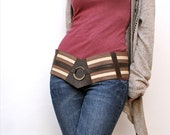 Reserved for gbolte  - Chevron Leather Lace-Up Hip Belt Wide Stripes - Chocolate Brown, Cream, and Mink Leather - Size Small to Medium