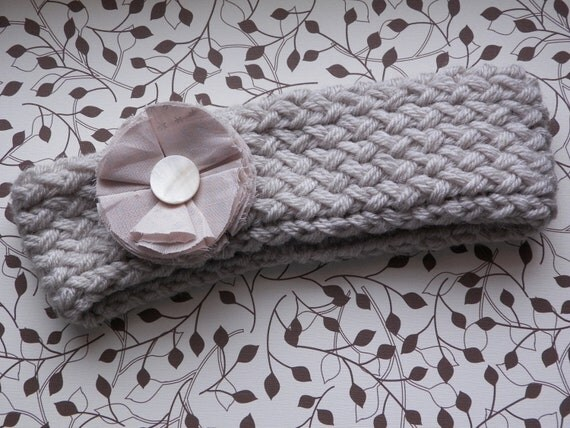 ON SALE Knit Headband with Flower, Light Gray and Taupe with Shell bead Flower Center.