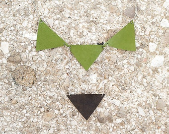 Green leather geometric triangles necklace