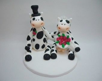 Polymer Clay Cow Wedding Topper