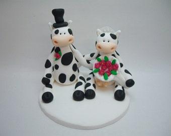Polymer Clay Cow Wedding Topper