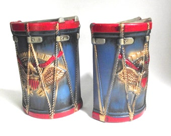 Pair of Vintage Ceramic Lego Drum Shaped Bookends in Blue and Red