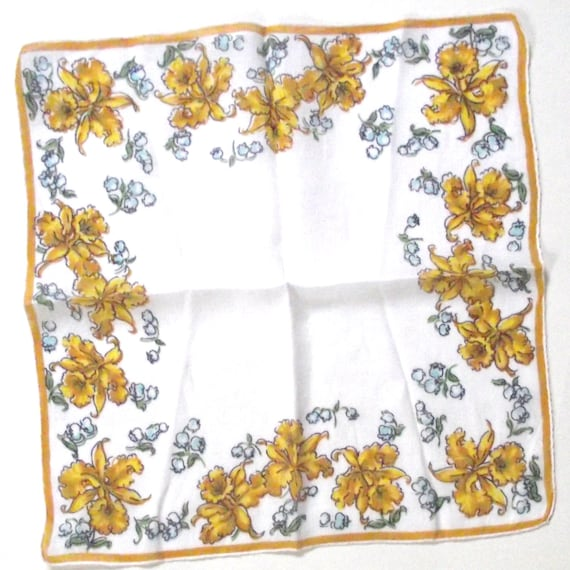 Vintage Ladies Handkerchief with Daffodil and Bluebell Print