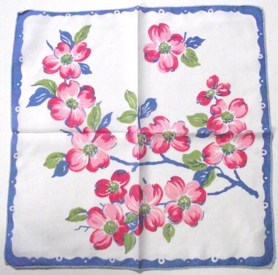 Vintage Ladies Handkerchief in Blue, Pink and Green Flowered Pattern