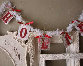 Happy Holidays garland Christmas party decor red and white christmas garland chipboard tag vintage style christmas extra long paper garland
