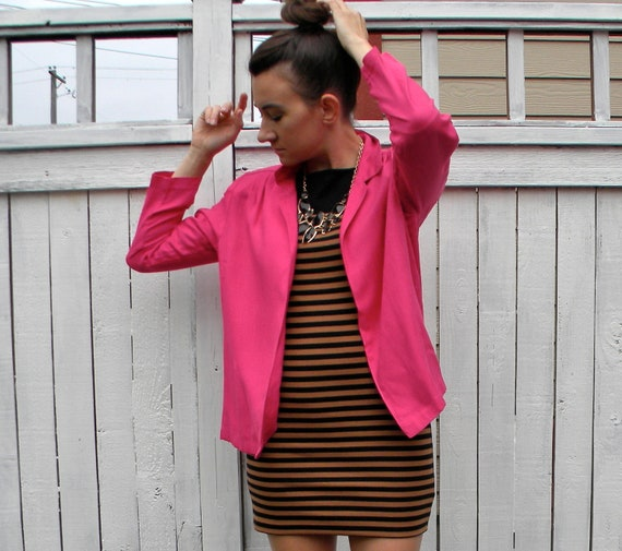 Pink Jacket 80s  Bold Fuchsia Linen Blazer, Medium