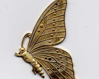 3 Butterfly Profile Brass Metal Stampings